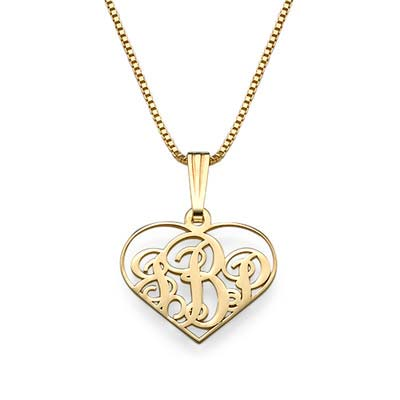 XS Heart Monogram Necklace in 18k Gold Plating