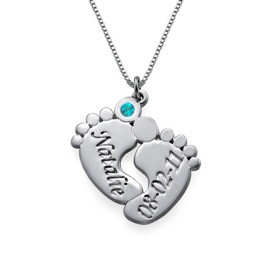 Personalized Baby Feet Necklace in Sterling Silver - 1