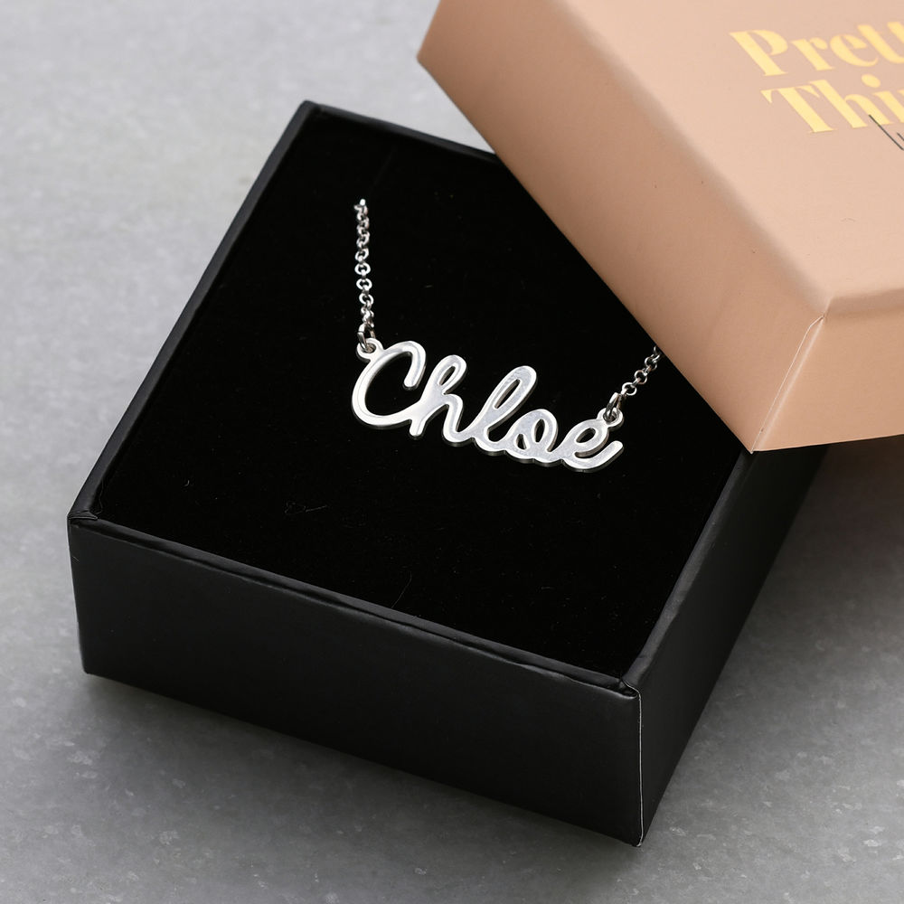 Personalized Cursive Name Necklace in Sterling Silver - 1