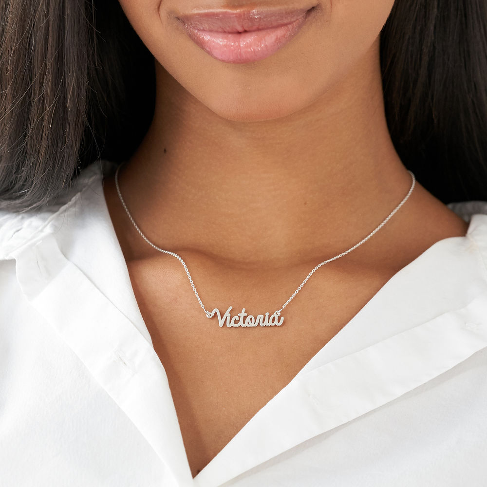 Personalized Cursive Name Necklace in Sterling Silver - 2