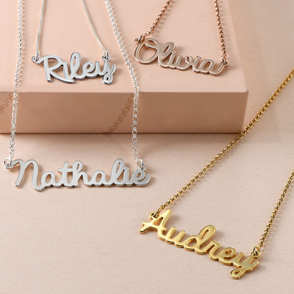 Personalized Jewelry - Cursive Name Necklace in 18k Gold Plating - 1