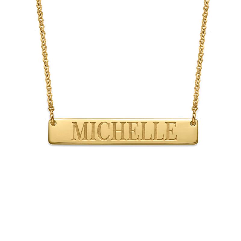 Engraved Bar Necklace in 18k Gold Plating