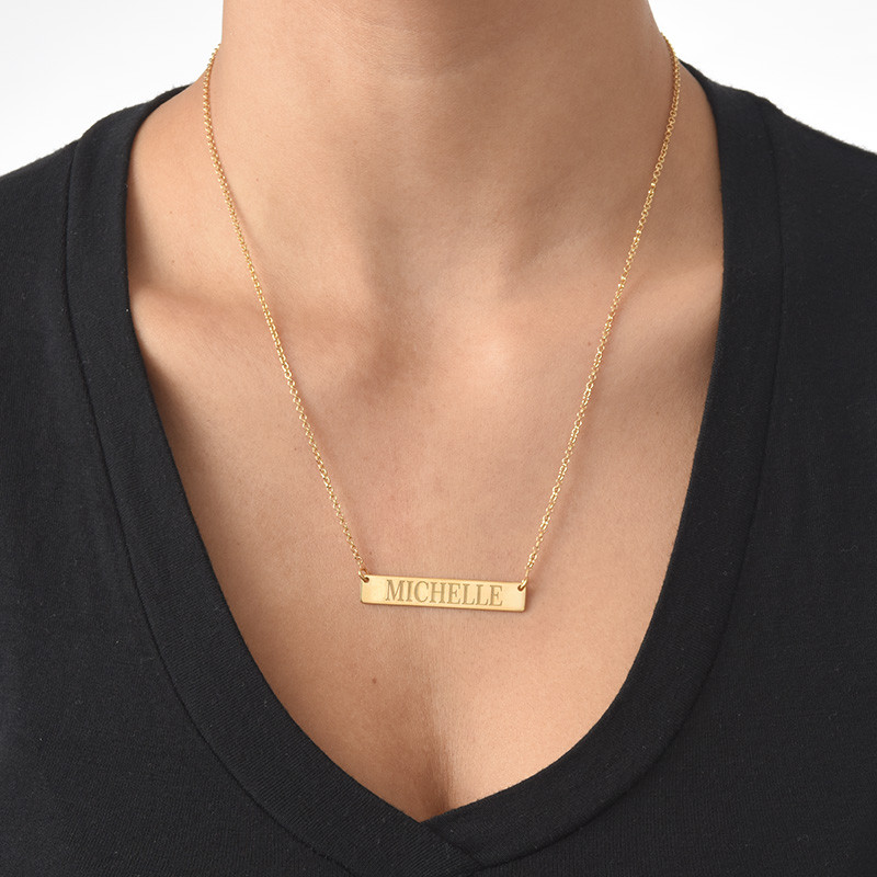 Engraved Bar Necklace in 18k Gold Plating - 1