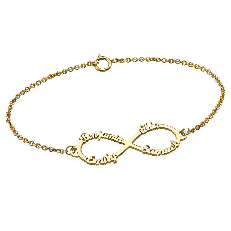 14K Gold Infinity 4 Names Bracelet