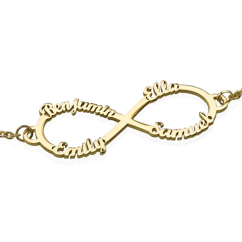 14K Gold Infinity 4 Names Bracelet - 1