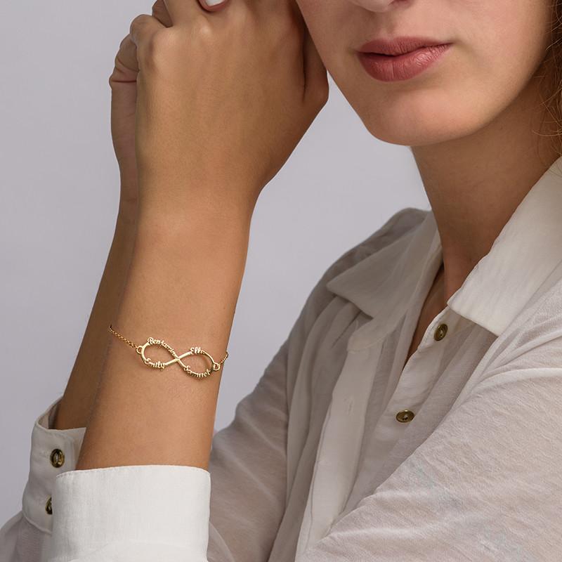 14K Gold Infinity 4 Names Bracelet - 3
