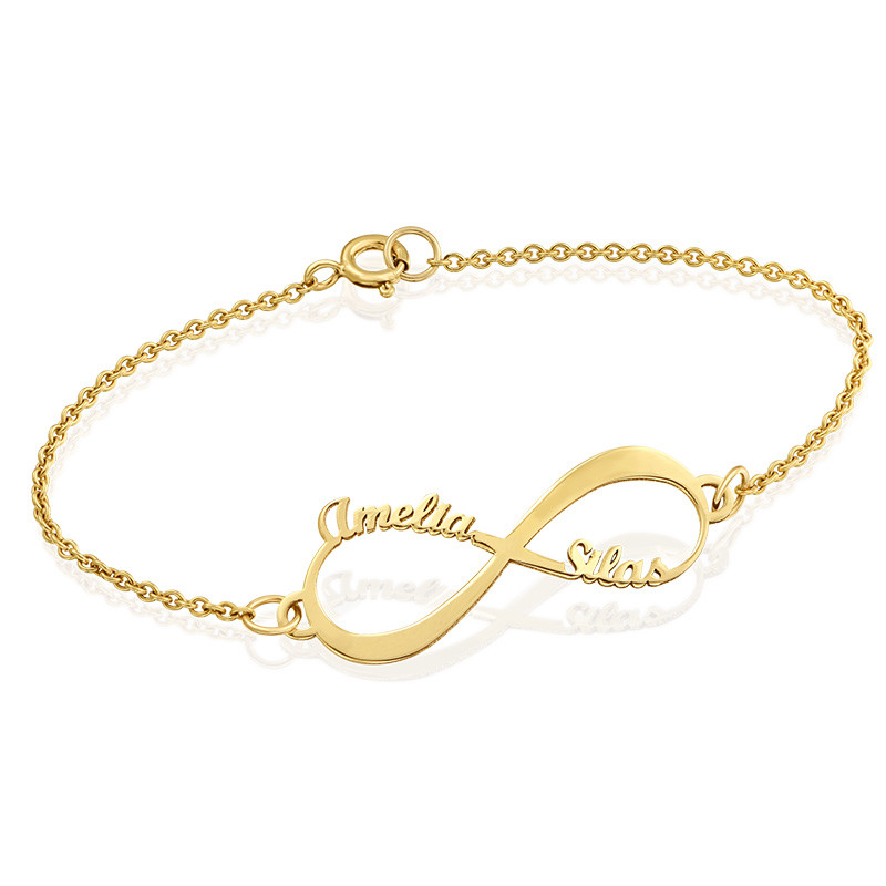14K Gold Infinity Bracelet with Names