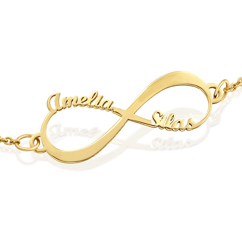 14K Gold Infinity Bracelet with Names - 1
