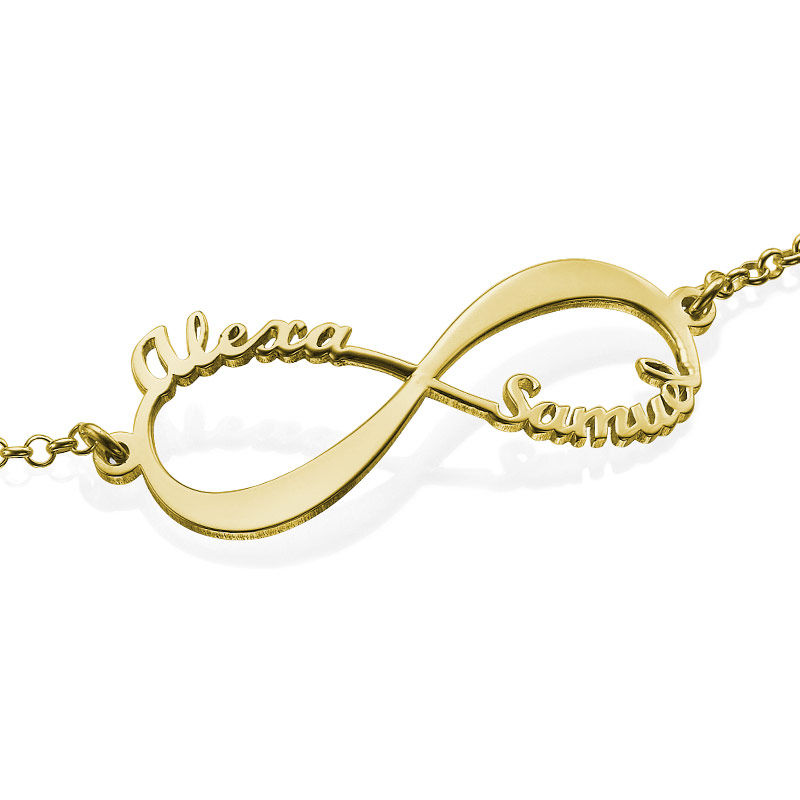 14K Gold Infinity Bracelet with Names - 2