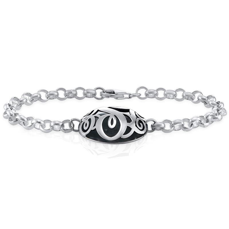 Contoured Monogram Bracelet in Silver - 1