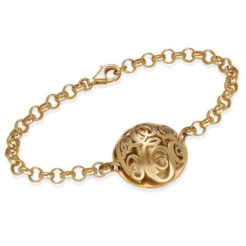 Contoured Monogram Bracelet in Gold Plating