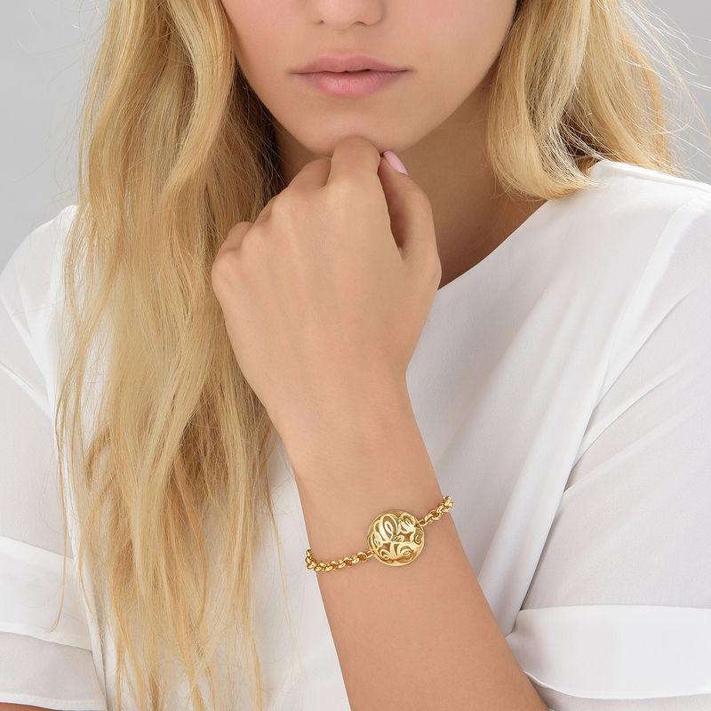 Contoured Monogram Bracelet in Gold Plating - 2