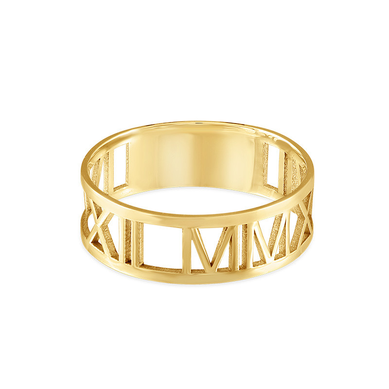 14K Gold Roman Numeral Ring - 1