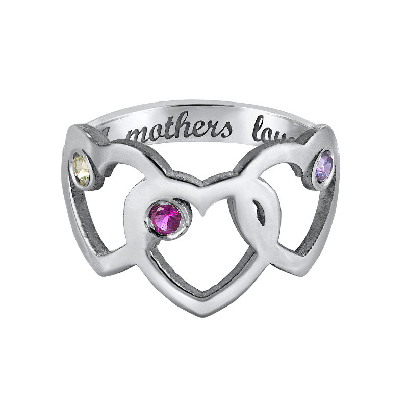 Heart Mother's Ring with Birthstones - 3