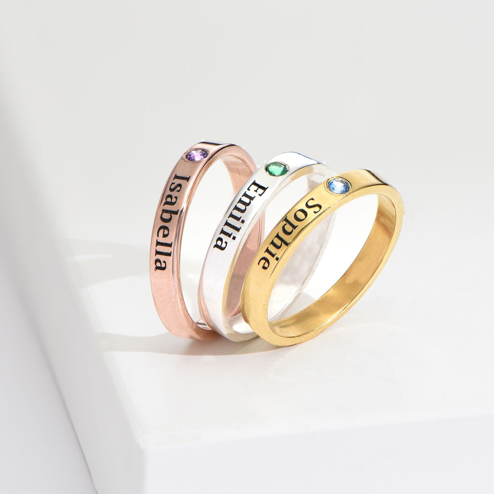 Stackable Birthstone Name Ring - 18k Rose Gold Plated - 4