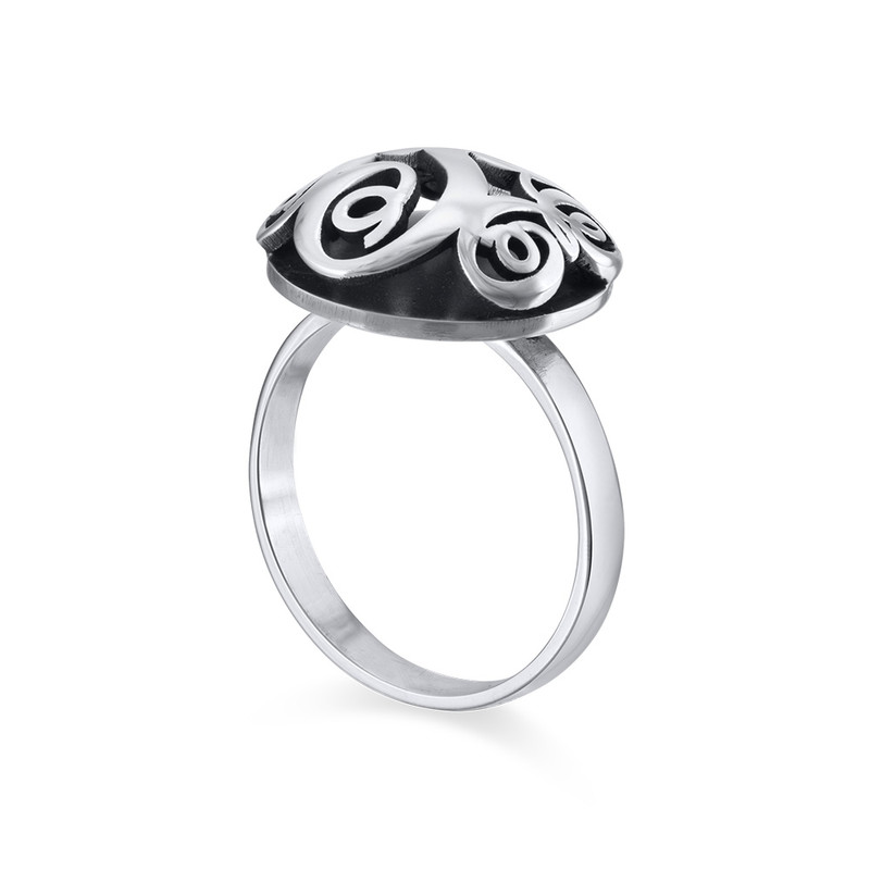 Contoured Monogram Ring in Silver - 1