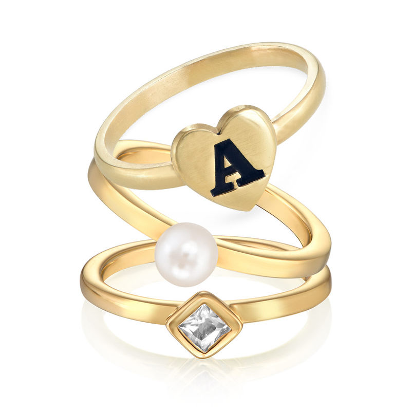 18K Gold Plated Heart Initial Stacking Ring - 2