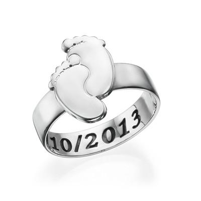 Engraved Baby Feet Ring