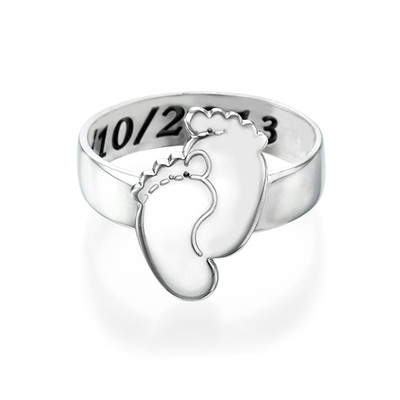 Engraved Baby Feet Ring - 1