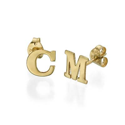 Initial Stud Earrings in 14k Solid Gold