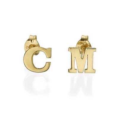 Initial Stud Earrings in 14k Solid Gold - 1