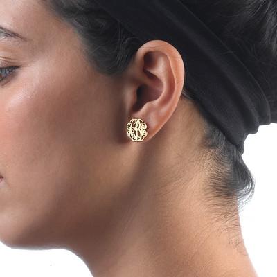Monogram Stud Earrings in 14k Gold - 1