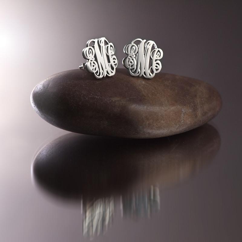 Monogram Stud Earrings in Silver - 2