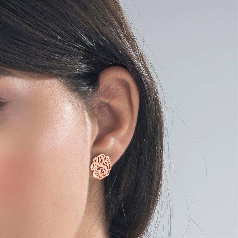 Monogram Stud Earrings with Rose Gold Plating - 1