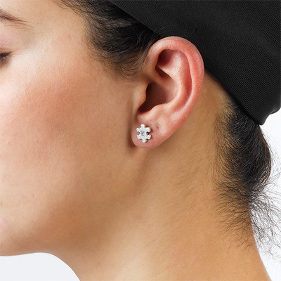 Puzzle Piece Earrings with Initial - 1