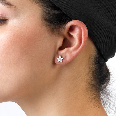 Sterling Silver Star Earrings with Initial - 1