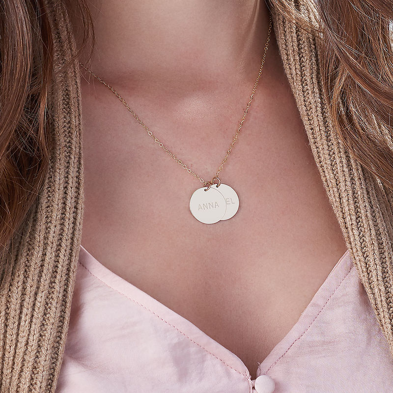 14k Gold Personalized Disc Mothers Necklace - 2