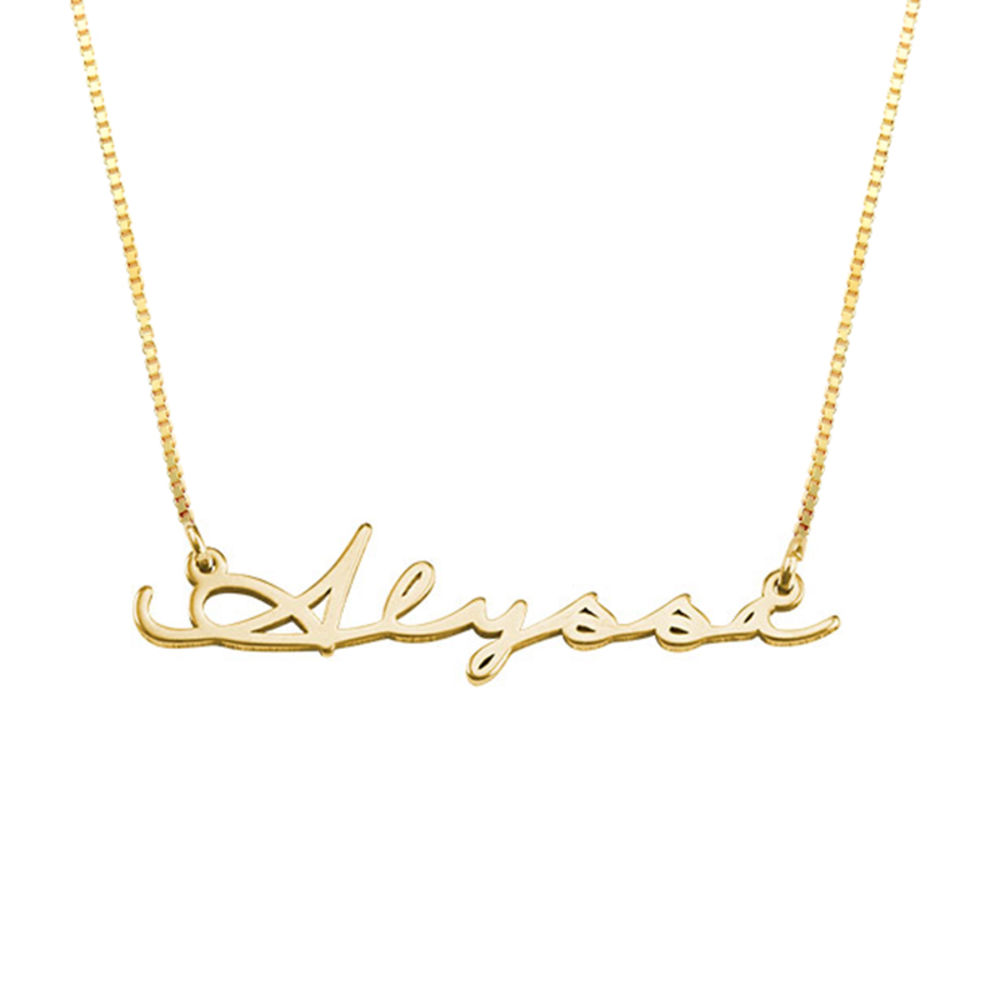 Signature Style Name Necklace - 14k Solid Gold - 1