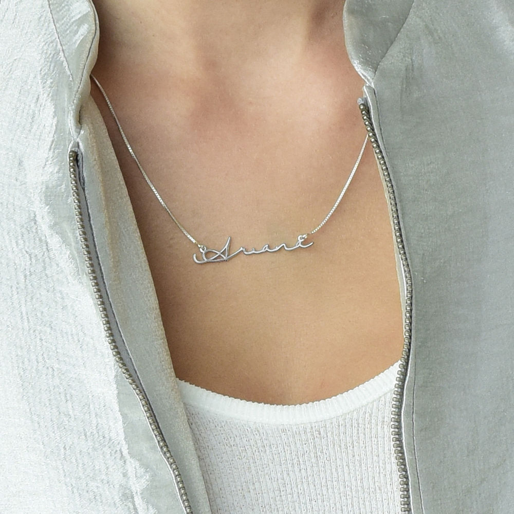 Signature Style Name Necklace - 14k White Gold - 1