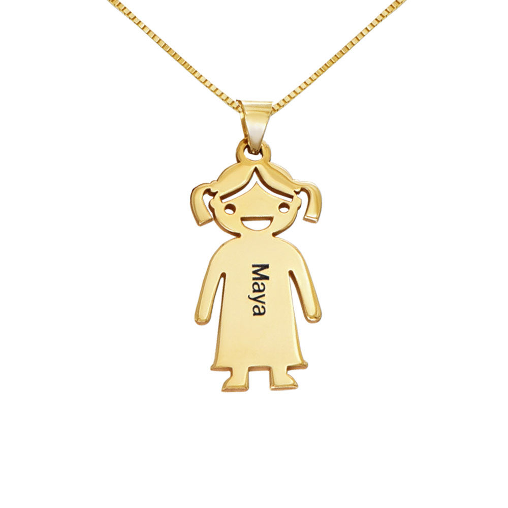 Mother's Necklace with Children Charms in 10K Yellow Gold - 1