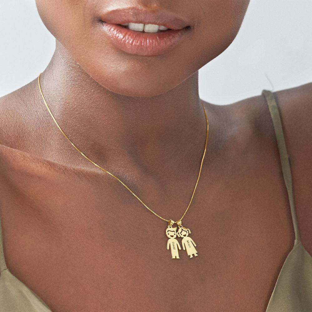 Mother's Necklace with Children Charms in 10K Yellow Gold - 3