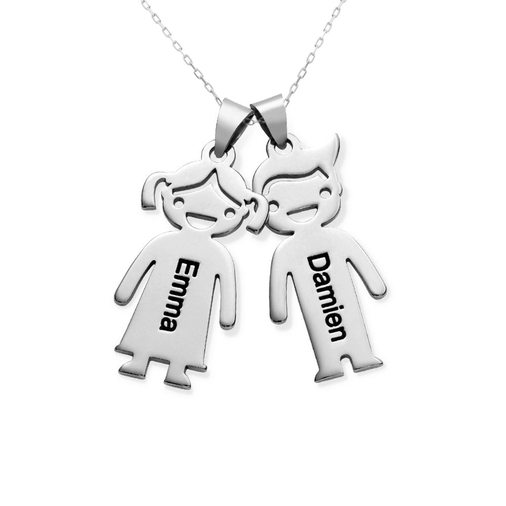 Mother's Necklace with Children Charms in 10K White Gold