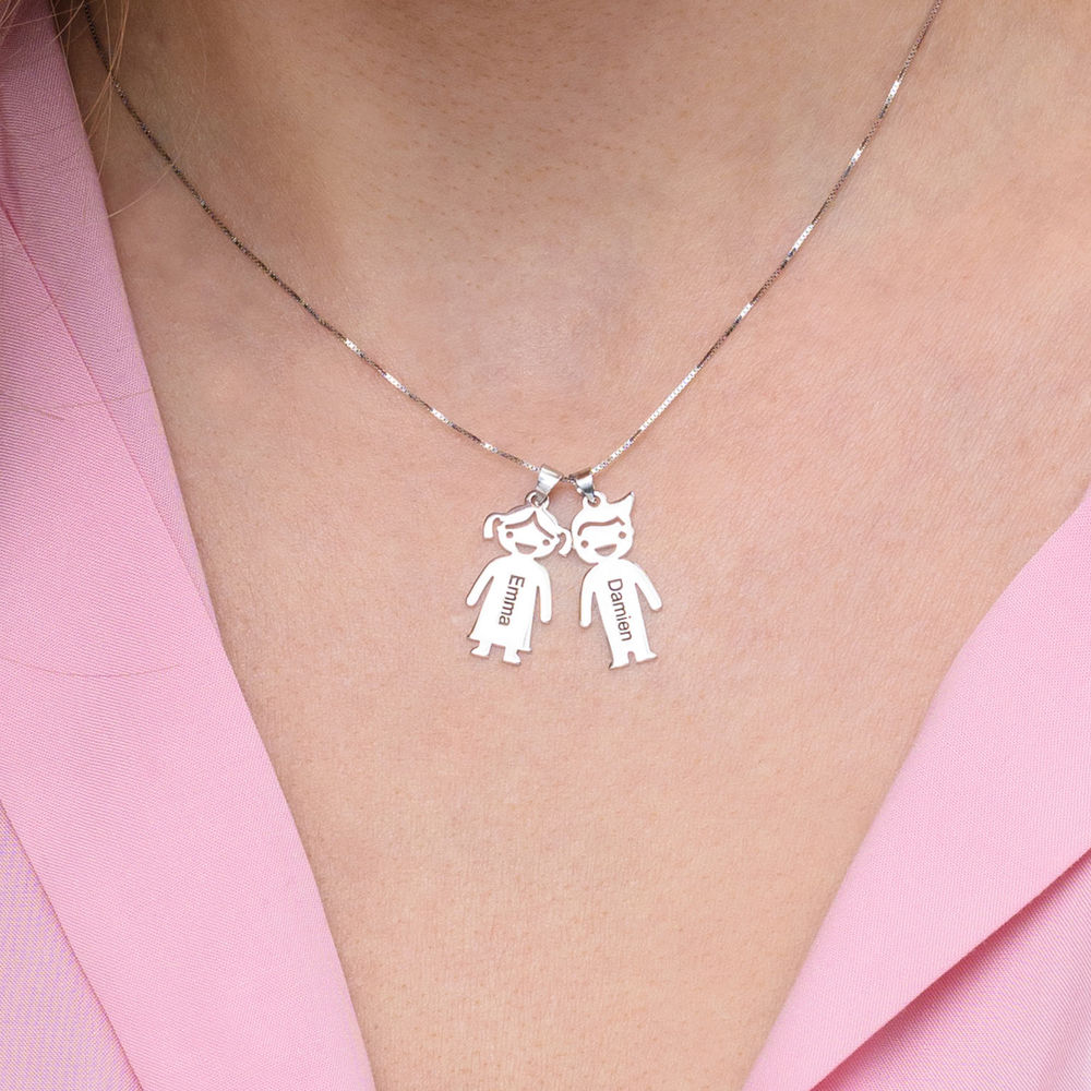 Mother's Necklace with Children Charms in 10K White Gold - 3