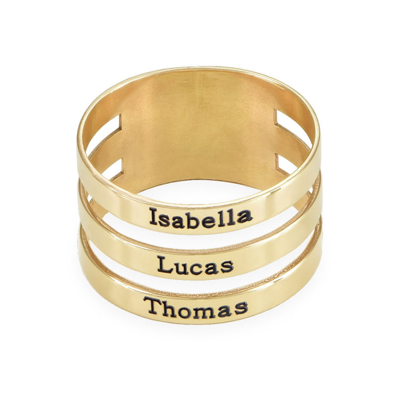 Three Name Ring in 10K Yellow Gold - 1