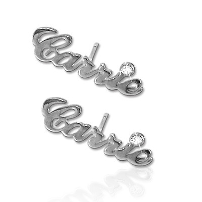 Personalized Silver Name Earring with Crystal