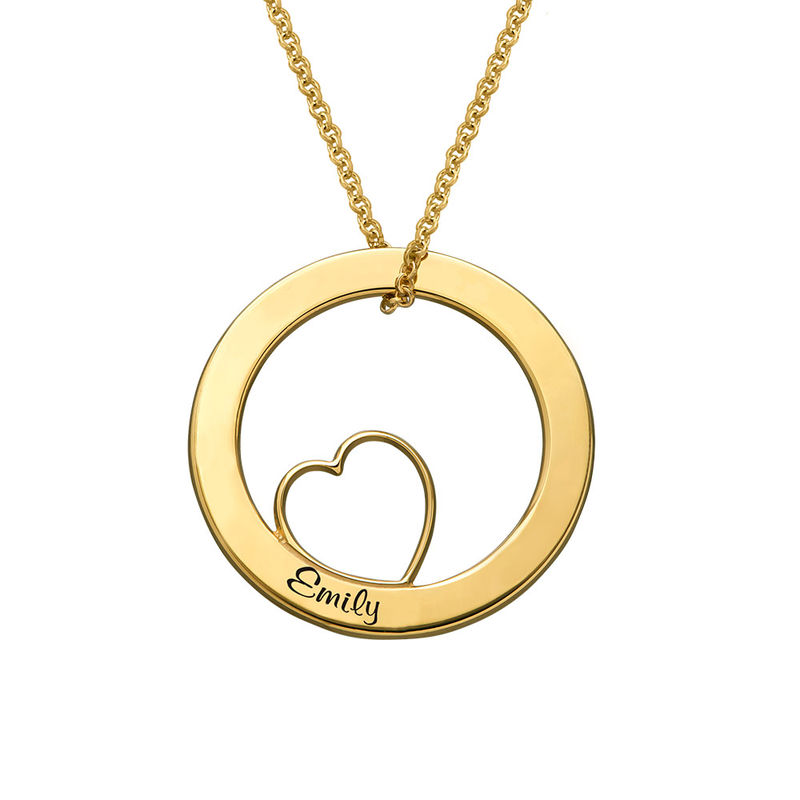 Family Love Circle Pendant Necklace with Gold Plating - 2
