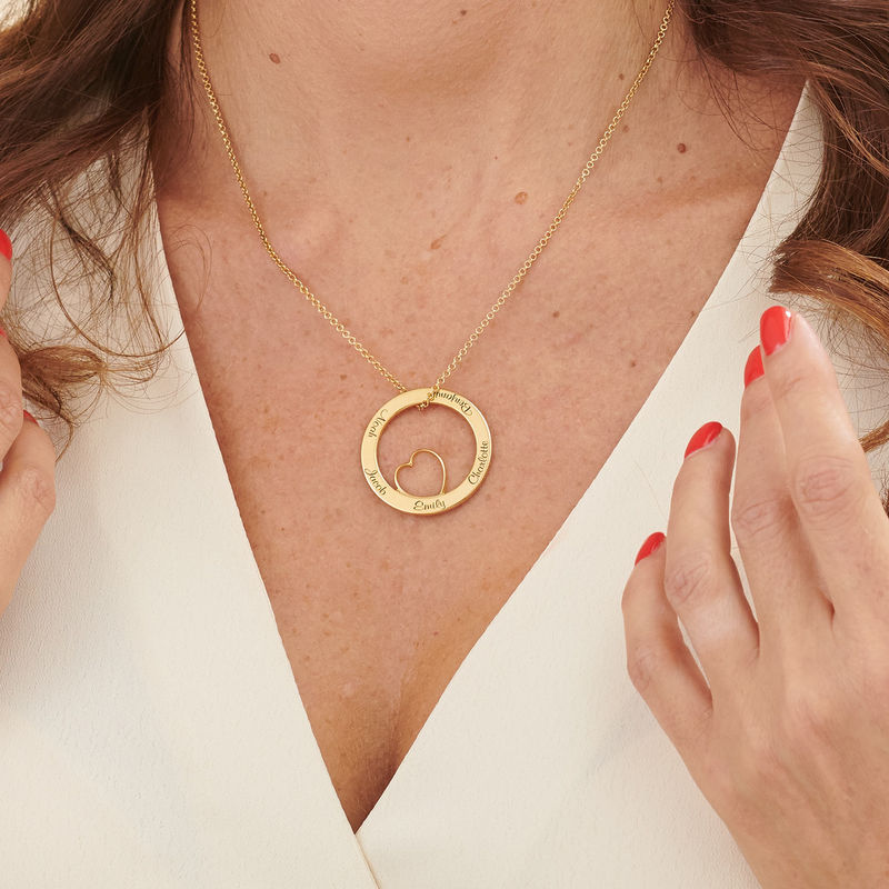 Family Love Circle Pendant Necklace with Gold Plating - 4