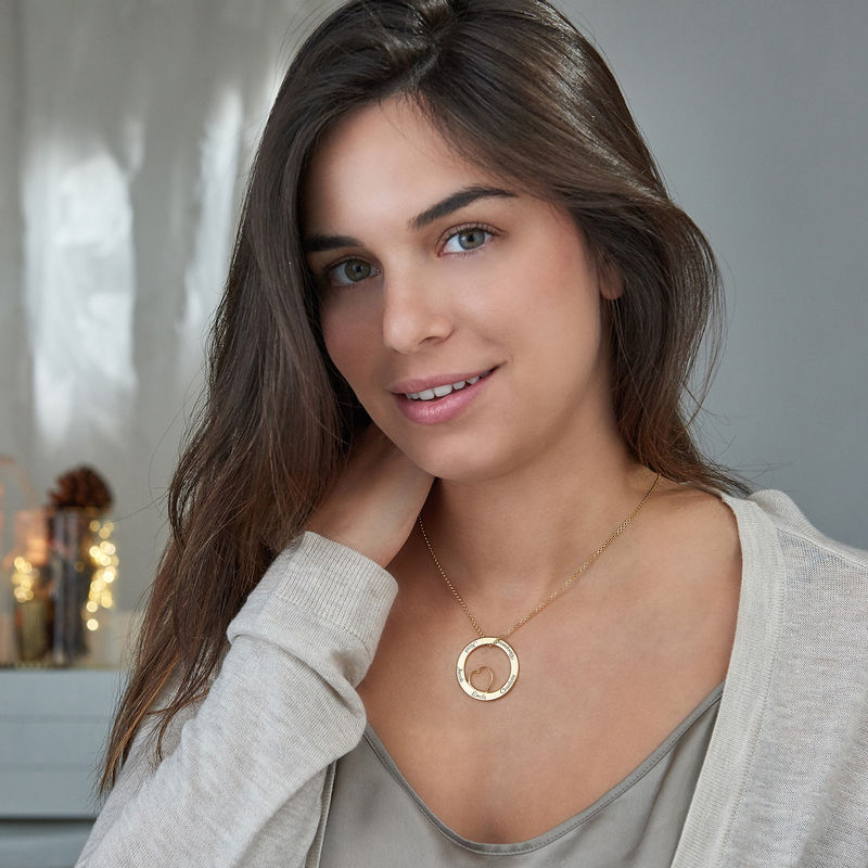 Family Love Circle Pendant Necklace with Gold Plating - 5