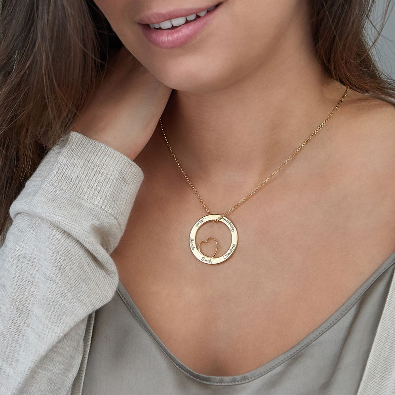 Family Love Circle Pendant Necklace with Gold Plating - 6