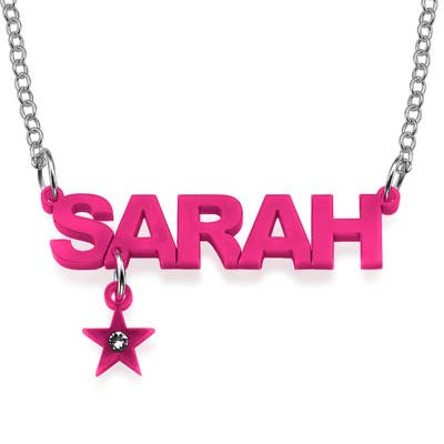 L.A. Style Color Name Necklace with Charm - 3