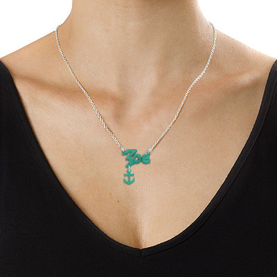 Stylish Color Name Necklace with your choice of charm - 1