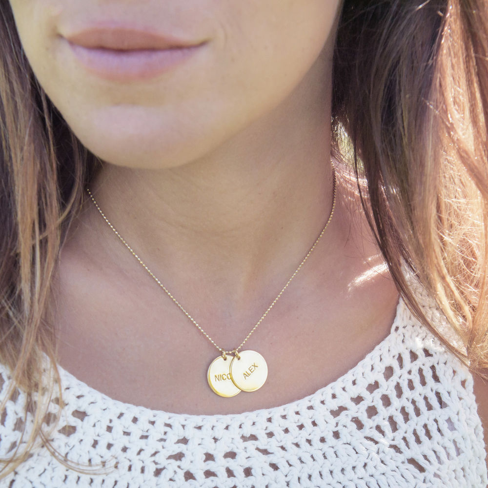 Personalized Jewelry – Gold Plated Disc Necklace - 2