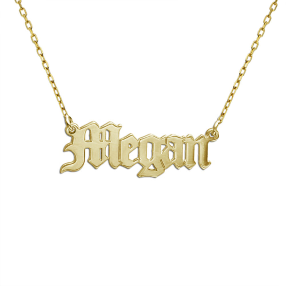 10k Gold Old English Name Necklace