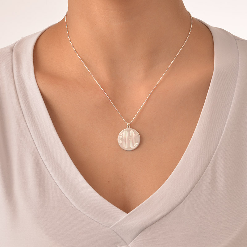 Engraved Block Monogram Necklace - 1