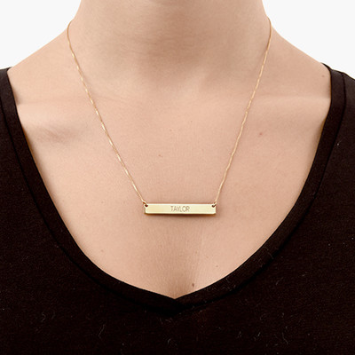 All Capitals Bar Necklace - Gold Plated - 1