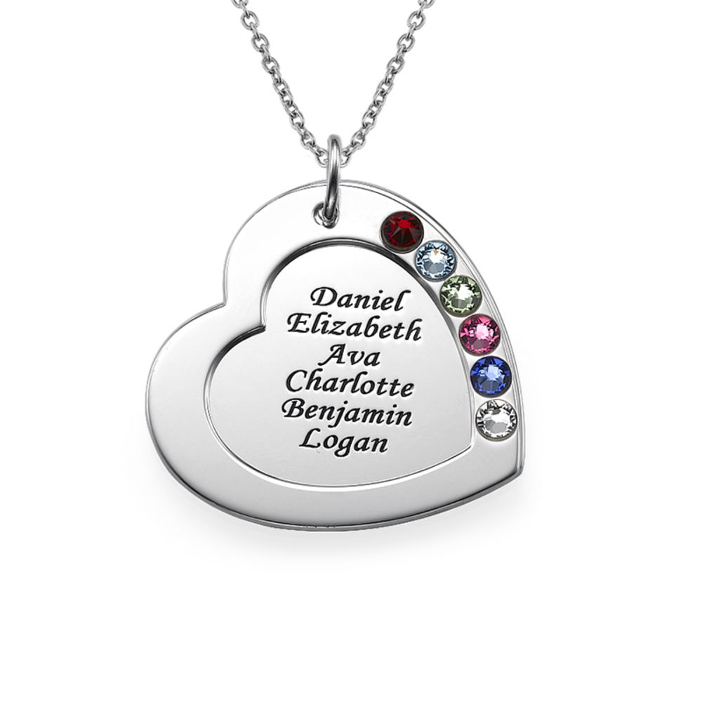 Family Heart Necklace with Birthstones